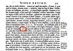 The page of Tommaso Fazello's book with fragment about Akrai (Tommaso Fazello, Le due deche dell'Historia di Sicilia dell R.P.M. Tomaso Fazello, Venetia 1574, p. 327).